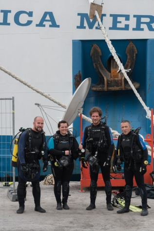 Benin dive team ready to do maintenance on the Africa Mercy.